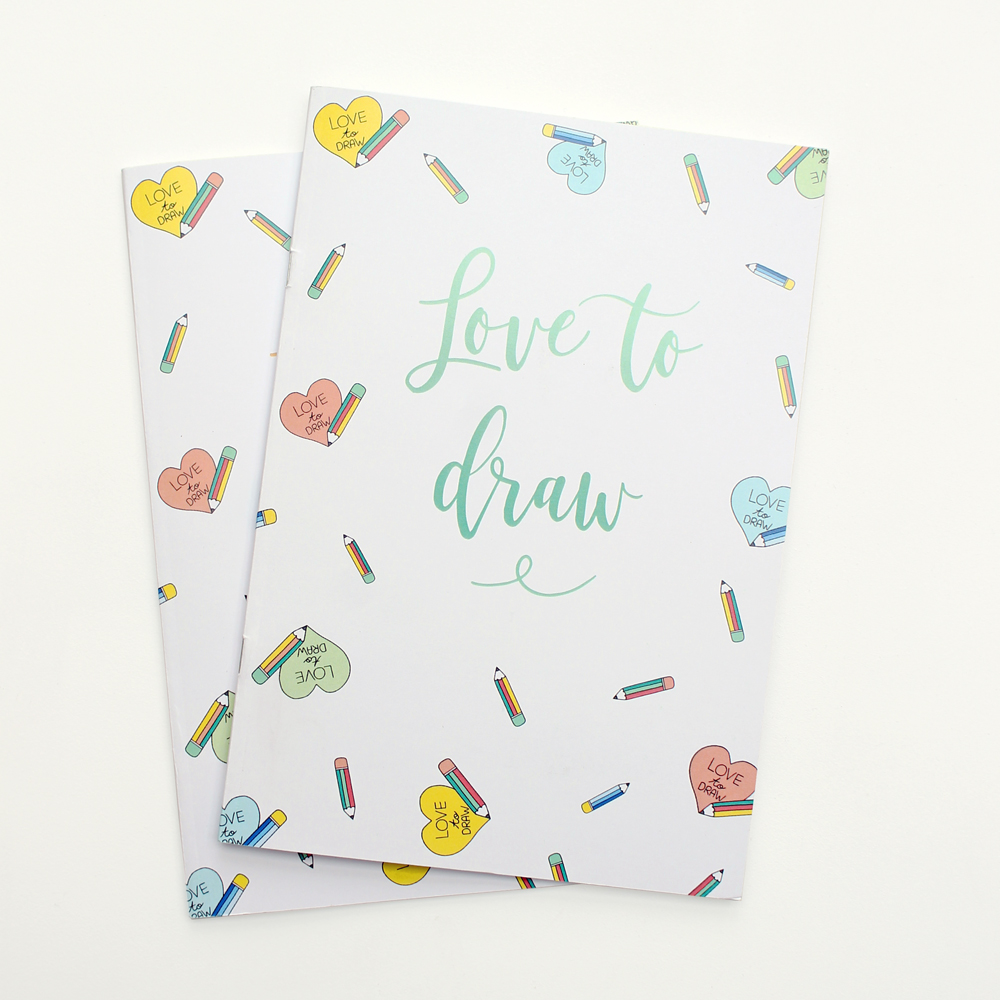 Love to draw notebook 2 pieces design wonderlab