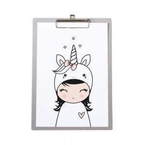 klembord-grijskarton-zoedt-a4-poster-eenhoorn-meisje
