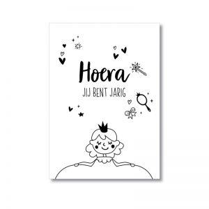miekinvorm-kaart-hoera-je-bent-jarig-prinses-verjaardag